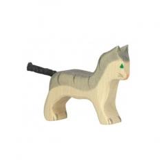 Petit chat gris en bois