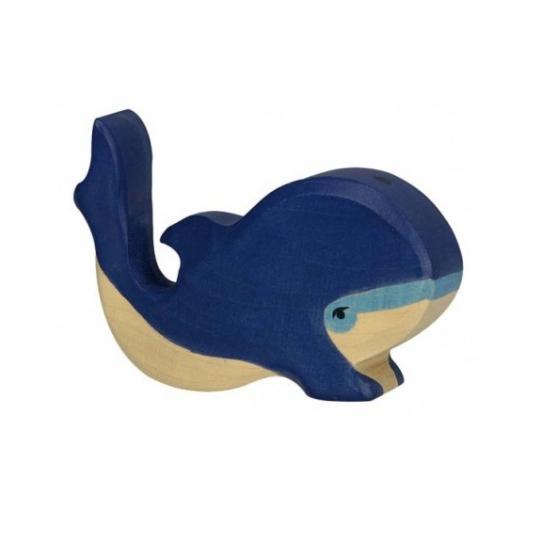 Baleine bleue en bois
