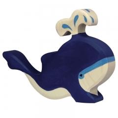 Baleine bleue en bois avec eau