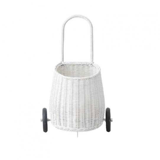 Mini panier osier à roulettes - Blanc