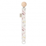 Attache tétine - Feuilles rose