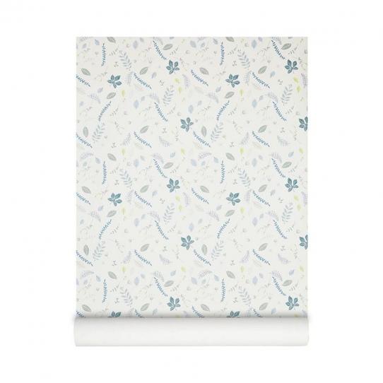 Papier peint Feuilles - Bleu