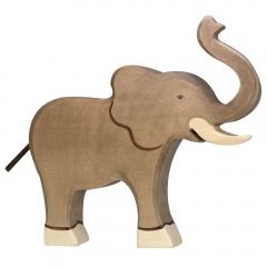Éléphant en bois trompe en l'air