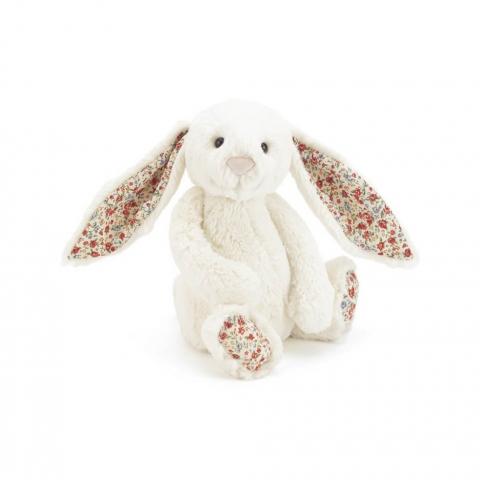 Doudou Lapin - Blanc et Liberty - 18 cm