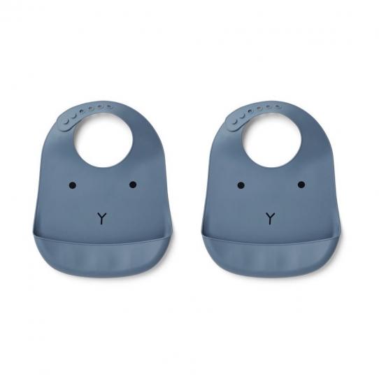 Bavoir en silicone - Lapin bleu