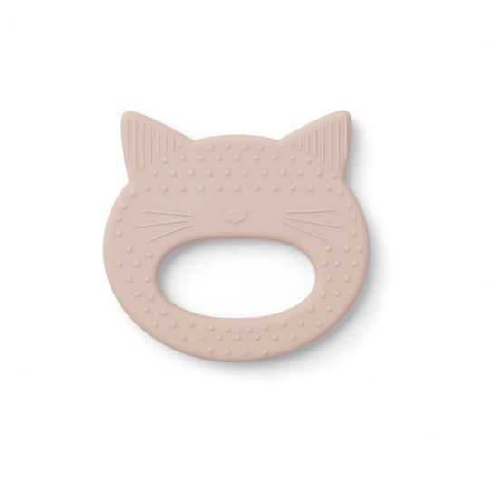 Anneau de dentition silicone - Chat rose