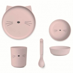 Vaisselle Bambou - Chat rose
