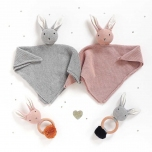Doudou Lapin Maille - Gris