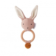 Hochet Lapin Maille - Rose