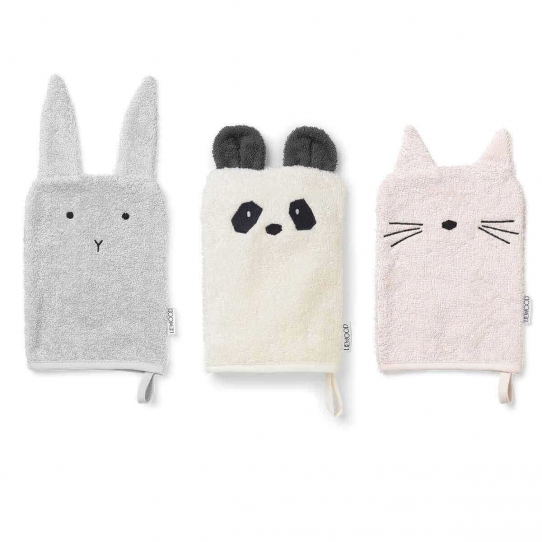 Set 3 gants de toilette Fille