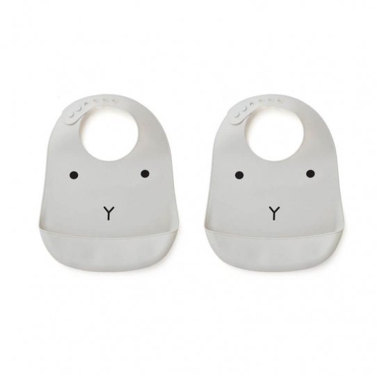 2 Bavoirs en silicone - Lapin gris