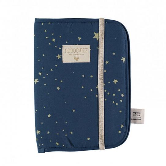 Protège carnet de santé étoiles dorées - Bleu