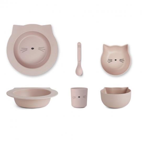 Vaisselle bébé en bambou - Chat rose