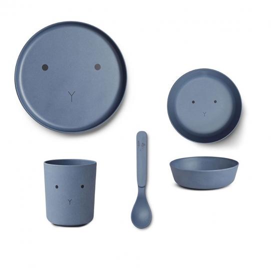 Vaisselle Bambou Lapin - Bleu wave
