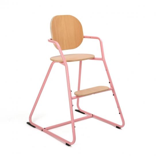 Chaise haute bébé évolutive Tibu Hêtre - Rose