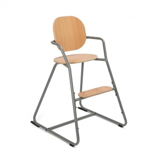Chaise haute bébé évolutive Tibu Hêtre - Gris