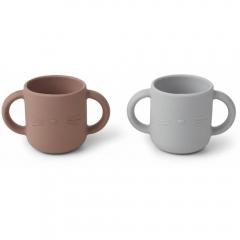 2 Tasses en silicone avec anses Chat - Rose et gris