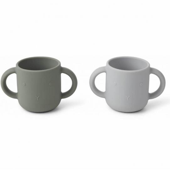 Tasse en silicone lapin - gris et kaki