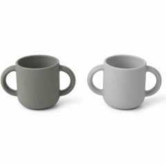 2 Tasses en silicone avec anses Lapin - Gris et kaki