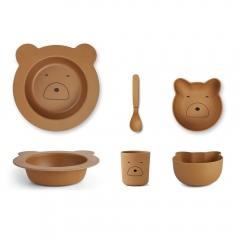 Vaisselle bébé en bambou ours - Moutarde