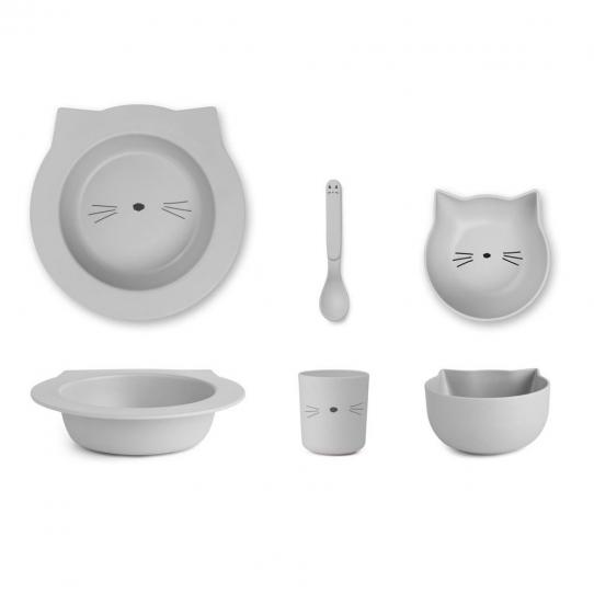 Vaisselle bébé en bambou chat - gris