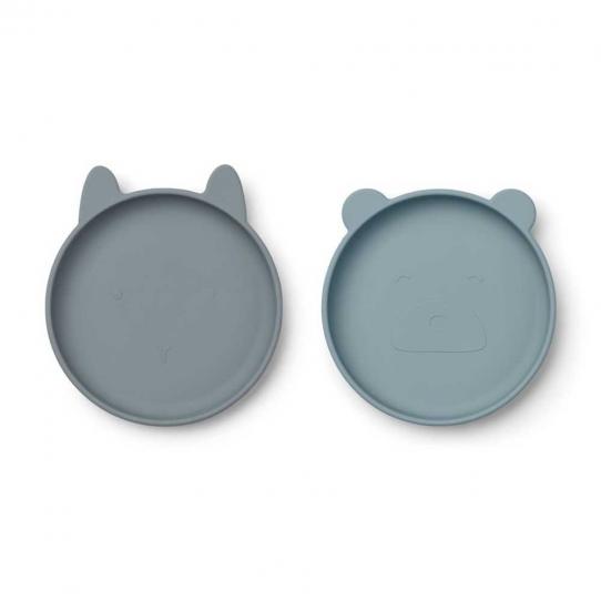 Assiettes x2 en silicone plates - mix bleu