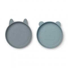 Assiette en silicone x 2 - Bleu