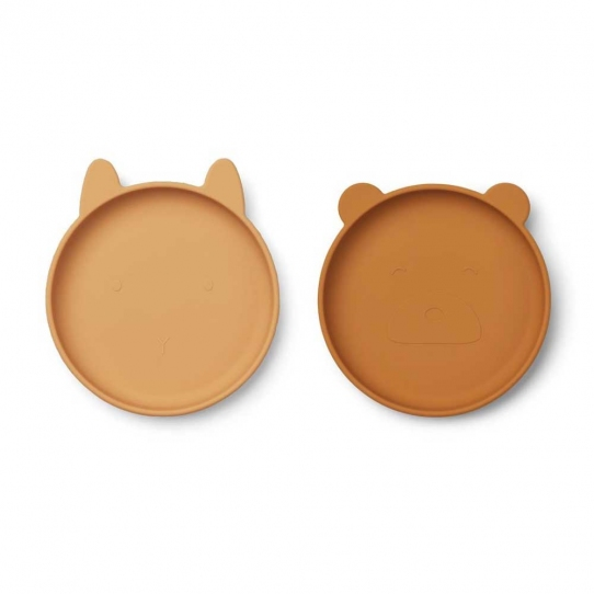 Assiettes x2 en silicone plates - mix moutarde
