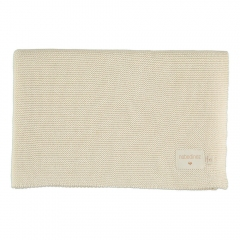Couverture tricot en coton bio - Naturel