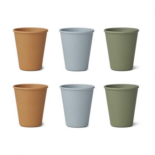 Tasse en bambou x6 - Mix bleu