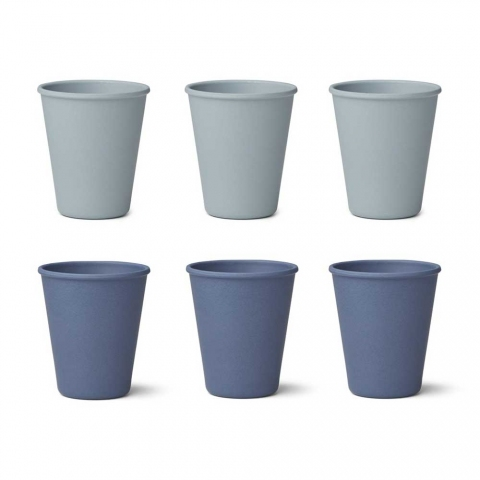 Tasse en bambou x6 - Bleu