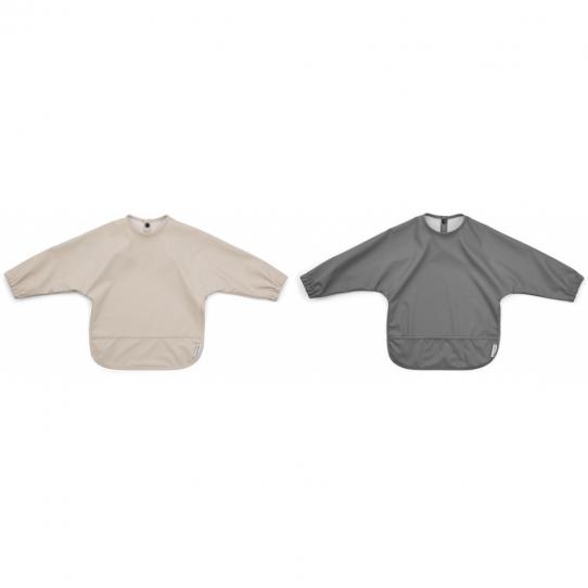 Bavoir intégral x2 - Ivoire et gris