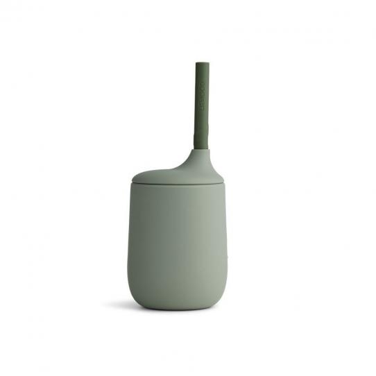 Verre en silicone avec paille - Kaki
