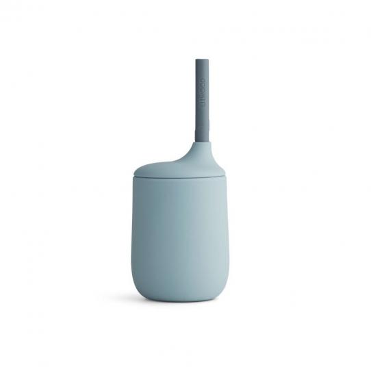 Verre en silicone avec paille - Bleu