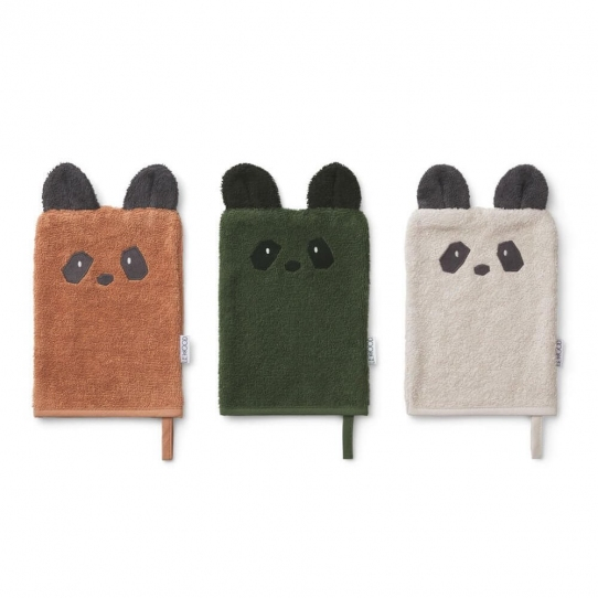 Set 3 gants de toilette - Panda mix