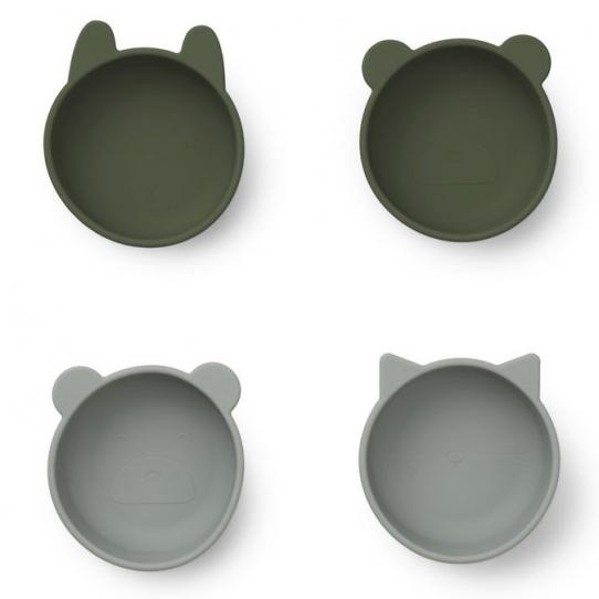 Set de 4 bols en silicone - kaki et gris