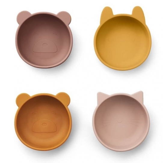 Set de 4 bols en silicone - rose