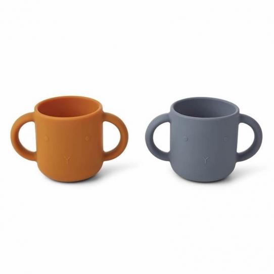 2 Tasses en silicone avec anses Lapin - Moutarde et bleu