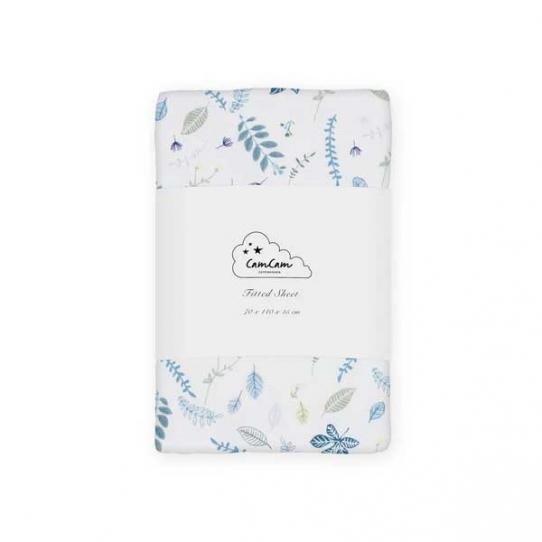 Drap 70x140x15 - Feuilles Bleu