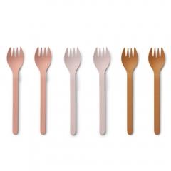 Fourchettes en Bambou x 6 - Mix rose