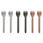 Fourchettes en Bambou x 6 - Mix kaki