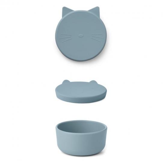 Boîte en silicone Cornelius - Chat bleu océan