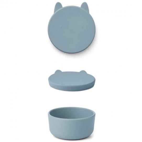 Boîte en silicone Charlot - Lapin bleu océan