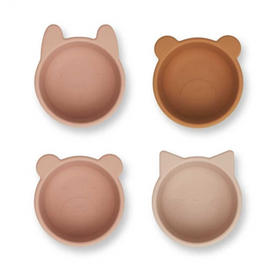 Set de 4 bols en silicone Malene - Rose mix