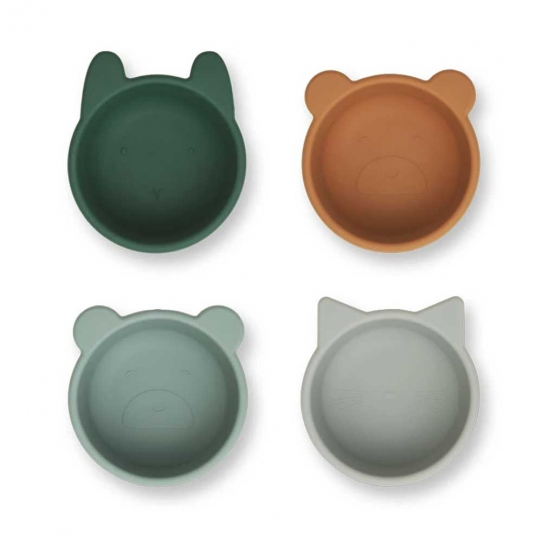 Set de 4 bols en silicone Malene - Vert mix