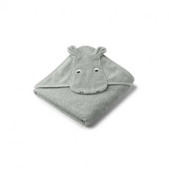 Cape de bain bébé Albert - Hippo bleu dove