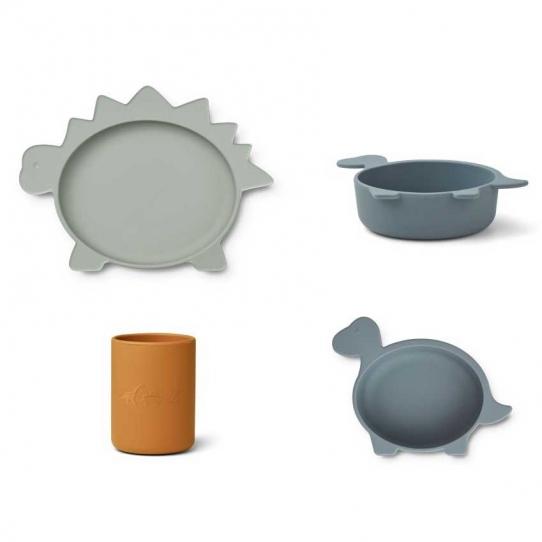 Vaisselle en silicone Cyrus - Dino bleu mix