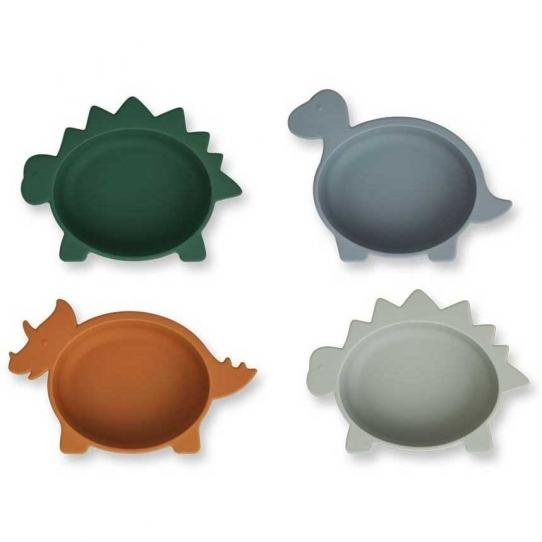 Set de 4 bols en silicone - Dino bleu mix