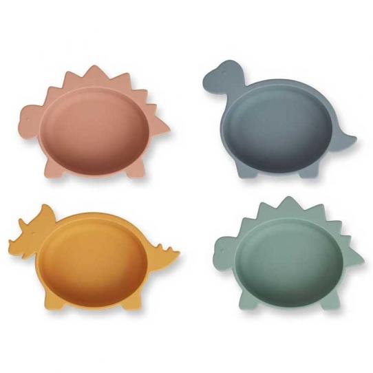 Set de 4 bols en silicone - Dino