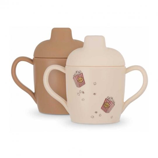 2 Tasses en silicone - Popcorn et Light Brown